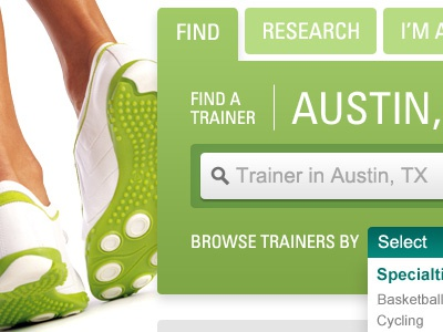 Fitness Training green grey teal univers shoe tab drop down search