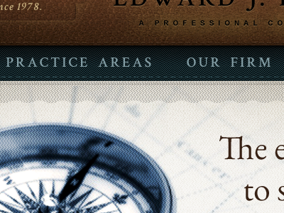 Law Firm Website leather fabric stitch navy blue brown texture layering effects ribbon compass vintage classic patterns crimson font eb garamond font @font-face fonts