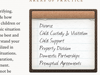Law Firm Service List note pad texture layering journal font @font-face crimson font leather paper law classic business