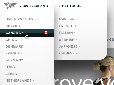 Country + Language Menu drop down menu shadow proxima nova country selector navigation region banner header website map grey white layering modern contemporary fitness sport