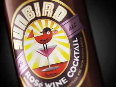 Sunbird Wine Cocktail illustration cocktail wine art deco sun bird vintage retro antique design typography vintage typography simon frouws design south africa south africa cape town wine label