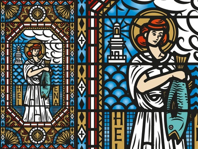 Saint Helena the famous frouws illustration wine label wine label design engraving stained glass vintage retro antique simon frouws south africa cape town luxury premium window church woman lighthouse fish halo pattern clouds stained glass shell roman waves