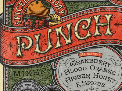 Spiced Holiday Punch the famous frouws illustration wine label wine label design engraving woodcut letterpress vintage retro antique design typography vintage typography simon frouws south africa cape town art stamp lettering type luxury premium limited edition spice punch fruit honey border