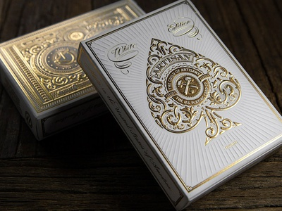 Let there be light... white artisan artisans simon frouws theory eleven playing cards cards deck wood emboss engrave edition packaging packaging design
