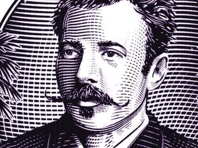 Gentleman's Club the famous frouws money banknote premium engraving etching illustration man mustache woodcut simon frouws vintage