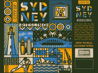 Sydneysider illustration wine label sydney city bridge modern simon frouws wine surfboard packaging design packaging