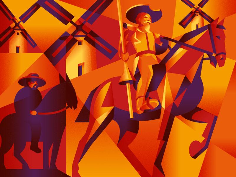 The Ingenious Gentleman Don Quixote of La Mancha the famous frouws illustration wine label cubism windmill horse simon frouws wine la mancha spain packaging design packaging