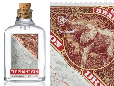 Fill up your trunks... the famous frouws illustration label design engraving woodcut vintage simon frouws gin luxury elephant packaging design packaging