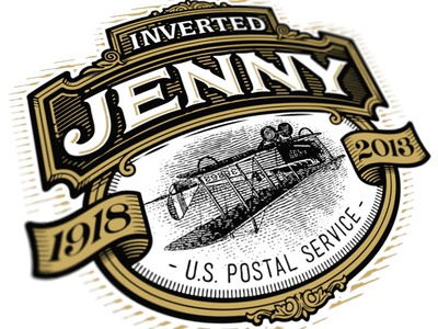 History Turned Upside Down the famous frouws illustration stamp engraving woodcut vintage simon frouws inverted jenny biplane postal service stamp design logo