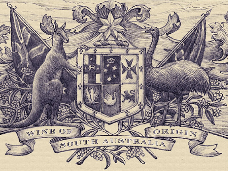 Australia Fair flag wine label engraving etching shield vintage simon frouws wine coat of arms kangaroo crest banner