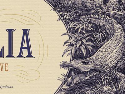 Croc Cartouche illustration wine label engraving etching crocodile vintage simon frouws wine luxury australia packaging design plants