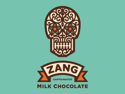 You've been Zanged! package the famous frouws calavera chocolate skull candy milk chocolate vintage simon frouws zang banner packaging design