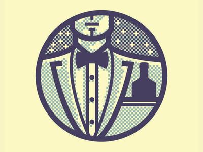 Suitor neat logo man bowtie suit simon frouws vintage bottle stars halftone portrait icon