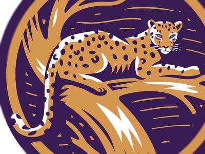 Leopard Tree travel tour safari africa logo simon frouws vintage spots tree leopard woodcut illustration
