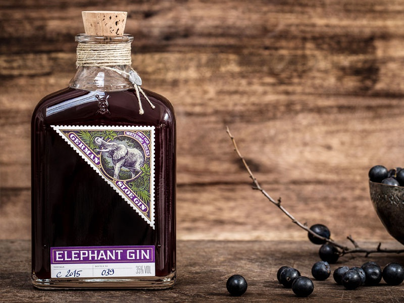 Elephant Sloe Gin berry sloe gin elephant africa gin simon frouws vintage woodcut etching engraving spirit label illustration