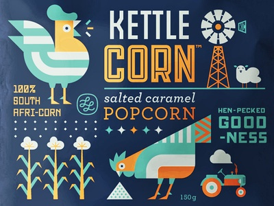 Popcorn Bag the famous frouws tractor sheep corn caramel african art simon frouws retro hen chicken kettle corn popcorn