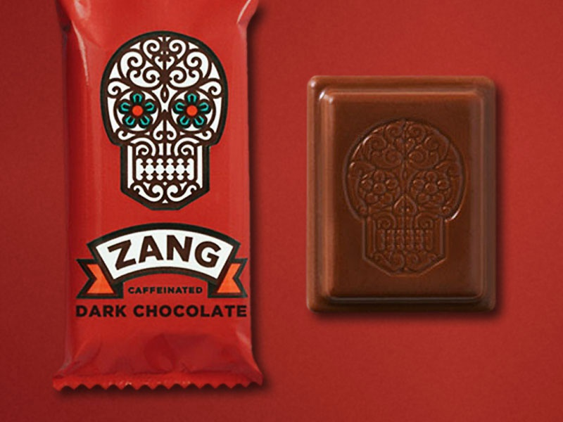 Sugar Skull logo skull candy chocolate zang simon frouws vintage dark chocolate packaging banner wrought iron illustration