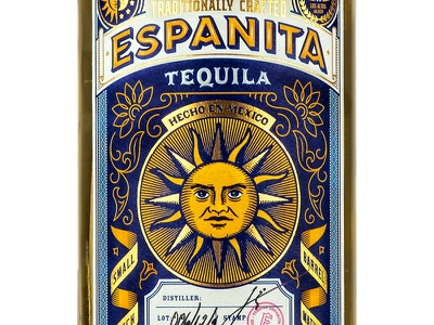 Espanita Tequila 1 the famous frouws bottle emboss tequila banner mexico simon frouws vintage woodcut engraving sun illustration