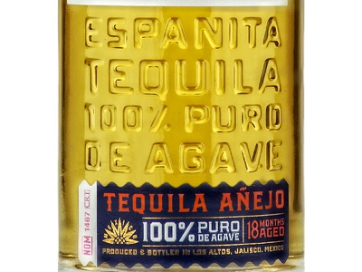 Espanita Tequila 2 agave label package bottle mexico simon frouws vintage los altos jalisco glass tequila emboss