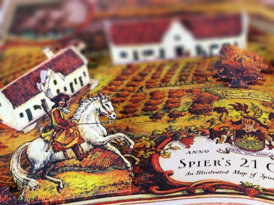 Pop-up Book simon tm simon™ simon frouws simon illustration hand lettering lettering typography type label wine wine label map house horse tree man scroll crest coat-of-arms spier book paper pop up book gables 21 gables spier wine farm