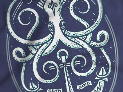 Ocean Vibration crest squid ocean vibration banner the famous frouws simon frouws anchor vintage tentacles engraving logo illustration