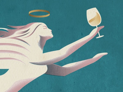 The Good Wine postcard wings wine glass the famous frouws simon frouws art deco halo illustration angel