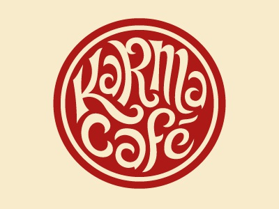 Karma Café seventies the famous frouws simon frouws logo lettering handmade vintage typography type 70s café cafe restaurant eatery diner food coffee bar circle red cream psychedelic