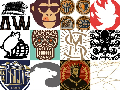 LogoLounge Book 10 the famous frouws skull simon frouws pig octopus monkey logo lounge logolounge logo illustration bear barrel