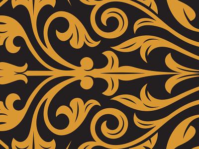 Floral Pattern filigree floral gold banner spirit gin crest simon frouws vintage woodcut etching engraving illustration