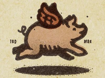 Flying Pig simonfrouws packagedesign packaging stamp design illustration whiskey bourbon pork fly wing pig