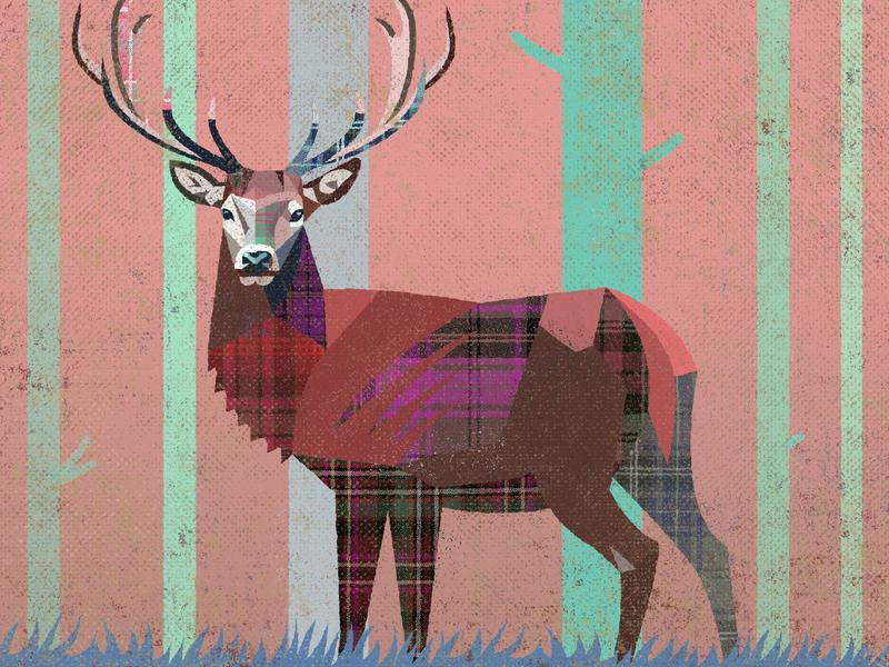 Winter Coat scotland simon frouws design illustration tree woods forest stag deer