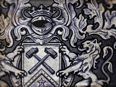 Dirty Money retro money the famous frouws simon frouws antique vintage woodcut engraving etching south africa shield crest banner coat of arms heraldry heraldic hammer knight mantling star lion lions illustration
