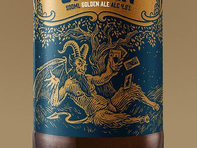 Poker Tree bottle ale liquor banner oak goat horns ace cards playing cards poker tree devil ireland beer
