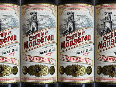 Spanish Wine Label packaging typography illustration wine label woodcut packaging design simon frouws medals engraving vintage castle tower spain spanish label wine