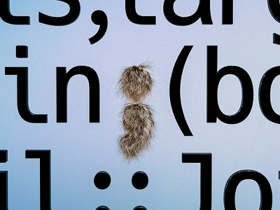 Coding getting hairy hair typography type semi colon coding c4d