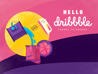 Hello Dribbble hello dribble thanks pink mix colors first hello debut dribbble