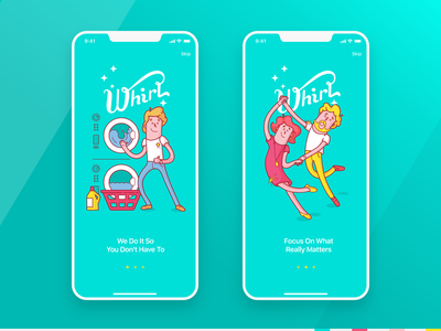 Whirl App ux ui mobile app mobile ui mobile visual ios app onboarding illustration illustration onboarding uiux app design laundry app