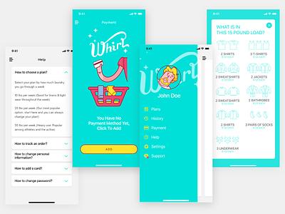 Whirl App - screens layout visual ux ui illustraion mobile ux mobile ui laundry app mobile app design app illustration