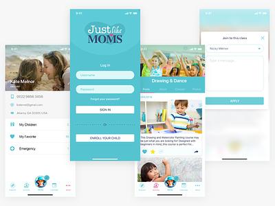 Just Like Moms - Screens education classes children moms mobile uiux leisure activities app ux ui mobile ui