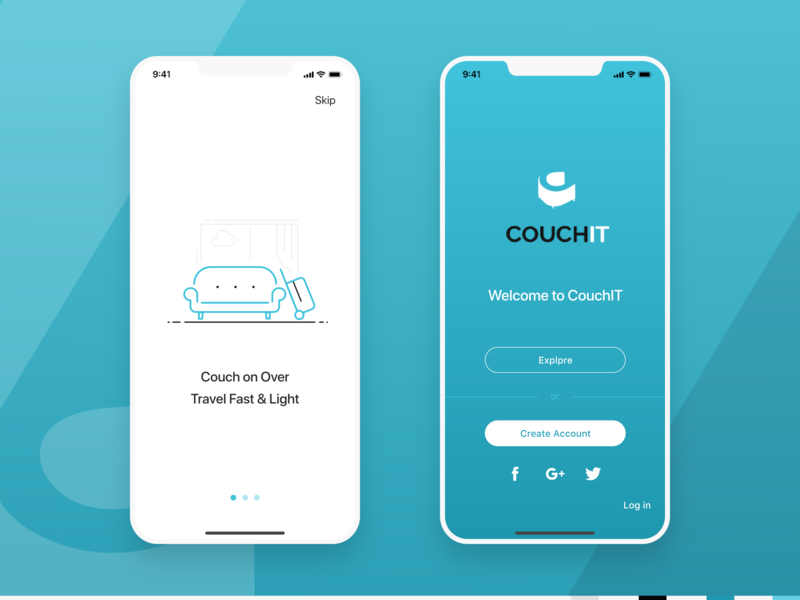 Couch IT App hospitality design illustration visual mobile ui app ui onboarding login travel travel app