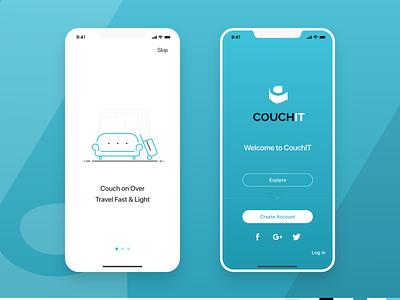 Couch IT App hospitality design illustration visual mobile ui app ui onboarding login travel travel app
