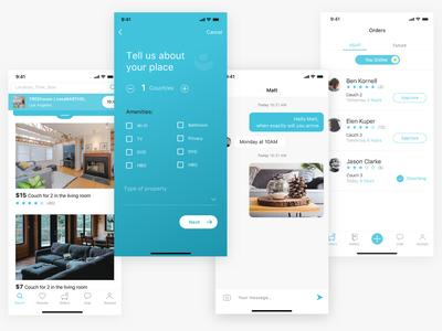 Couch IT App - screens mobile app ios app ux ui ui  ux travel app icons mobile ui feed registration order messaging hospitality design app ui