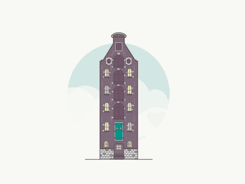 Dutch building line art design architecture flat design 2d dutch amsterdam