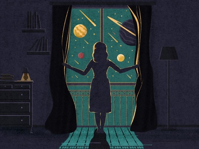 Girl who living in a dreams stars planet cosmos outside window figures room illustrator flat woman wo space dark light girl illustration new flat design dribbble illustration girl