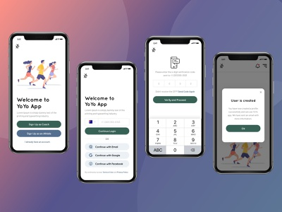 YoYoApp Login Screens athletes running app yoyo user interface user experience register design signup login sketchapp interface mobile ios app daily ui ux ui