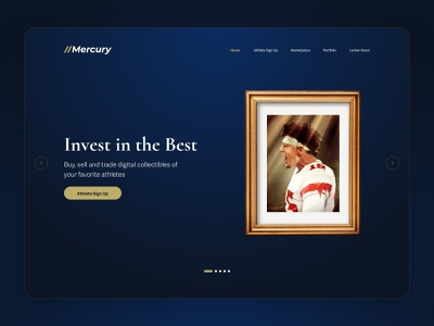 Mercury - The premier NFT experience. color palette landing page marketplace crypto non fungible header hero section ux ui web design web clean gradient token dark sports collectibles blockchain cryptocurrency nftart