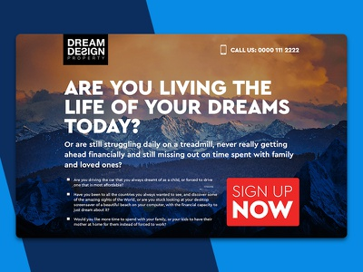 Dream Design Landing Page Layout Design photoshop interface design typography layout branding visual design ux ui daily ui web design clean dream design page landing