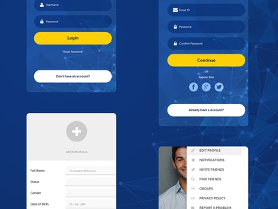 Android App Interface Design sketchapp design interface mobile ios blue and yellow blue interface design uxdesign uidesign photoshop android app app daily ui ux ui