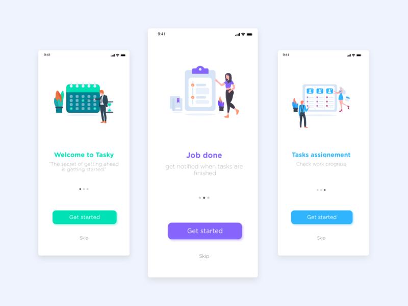 """Landing pages """"Tasky"""" Mobile app for task management task task management illustraion ux design ui design ux ui design"""