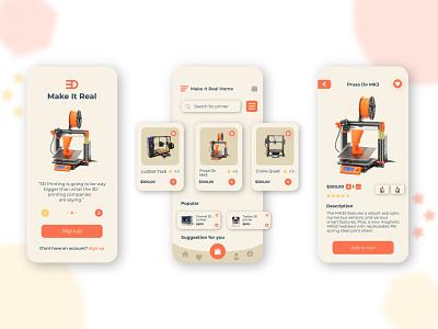"""Make It Real """"3D Printers Online shop """" mobileapp uxdesign uixdesign concept uiux design branding ui"""